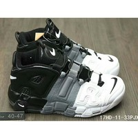 Tagre™ Nike Air More Uptempo men and women casual fashion shoes F-HAOXIE-ADXJ Black + gray + white letters