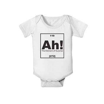 Ah the Element of Surprise Funny Science Baby Romper Bodysuit by TooLoud