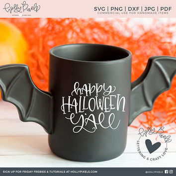 Halloween SVG | Happy Halloween Yall Southern SVG Design | Halloween Southern Sayings | Halloween Cut File | Brush Lettering Cut File