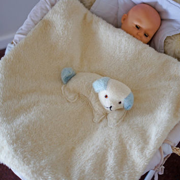 Vintage Pram Blanket 1950s Mid Century Cot Blanket Fleece with Soft Dog Puppy for Baby Boy Nursery
