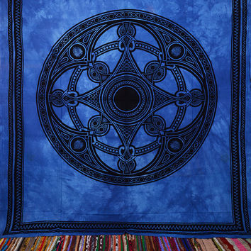 Blue Tapestry, Hippie Tapesrtries, Wall Hanging, boho, bohemian, Indian, psychedelic,  tie dye tapestries