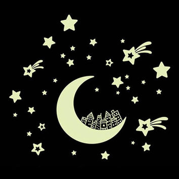 2017 New Luminous Stickers Set Moon and Stars /Wall/Ceiling etc...