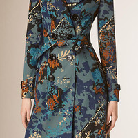 Floral Cotton Gabardine Trench Coat