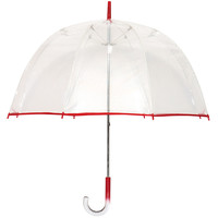 Lollipop Bubble Umbrella, Clear/Red, Stick