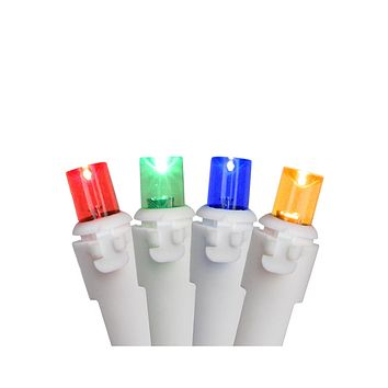 Set of 50 Multi-Color LED Wide Angle Christmas Lights White Wire