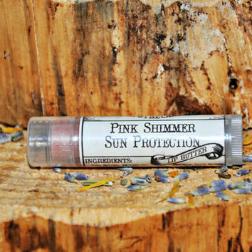 12 pack - Pink Shimmer Tinted Lip Butter, Organic Natural Sun Protection lipstick Balm