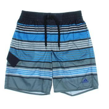 Adidas Mens Striped Drawstring Swim Trunks