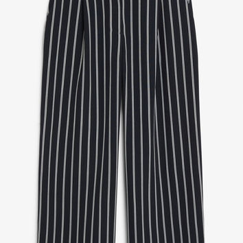 Wide leg trousers - Midnight blue/stripes - Trousers & shorts - Monki GB