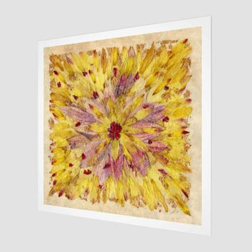 Sunburst Floral Design - Petals as Paint - Pressed Flower Petal Art - Yellow and Pink Tie Dye