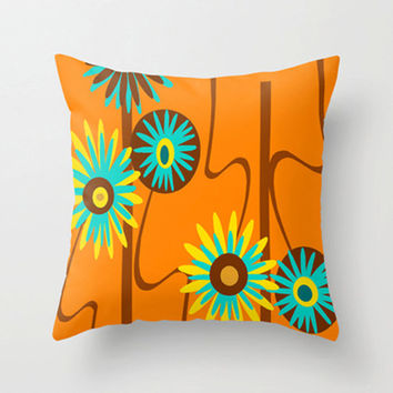 Throw Pillow Cover, Orange Floral Throw Pillow Cover Mid Century Modern Throw Pillow Cover, Cool Pillow Cover, Decorative Pillow Cover