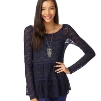Long Sleeve Sheer Lacy Tunic - Aeropostale