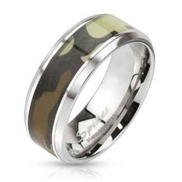 Camouflage Inlay Stainless Steel Beveled Edge Band Ring