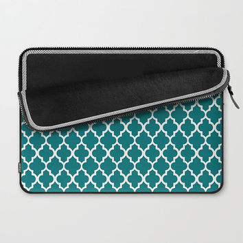 Custom Laptop Sleeve, 15 or 13 inch, Dark Teal Geometric Moroccan Pattern, Macbook Pro, Macbook Air, Tech Accessories for Her, Women's Gift