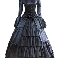 Elegant Gothic Lolita Victorian Aristocrat Black Satin Long Dress (Large)