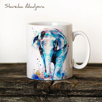 Asian Elephant Mug Watercolor Ceramic Mug Elephant Unique Gift Coffee Mug Animal Mug Tea Cup Art Illustration Cool Kitchen Art Printed mug