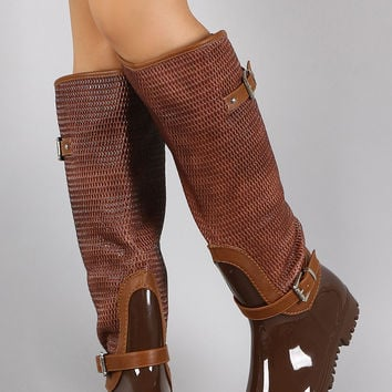 Snake Shaft Knee High Rain Boots
