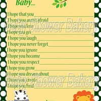 Wishes for Baby, Jungle Baby Shower Game, Jungle Themed Baby Shower Activity, Printable Wish for Baby Activity
