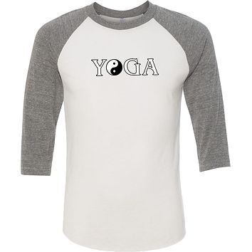 Yoga Clothing For You Yin Yang Yoga Text Eco Raglan 3/4 Sleeve Yoga Tee Shirt