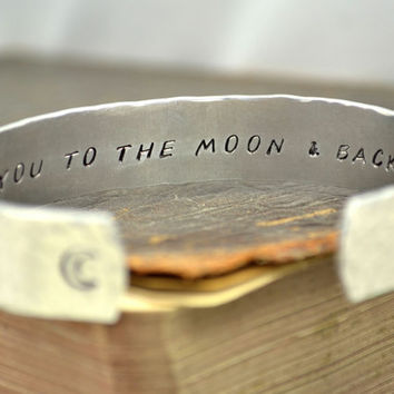 I Love You to the Moon and Back Secret Message Cuff Bracelet / Mother's Day gift
