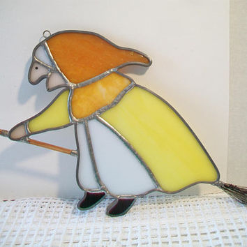 Vintage Kitchen Witch Stained Glass Suncatcher Halloween Window Wall Hanging Home Decor