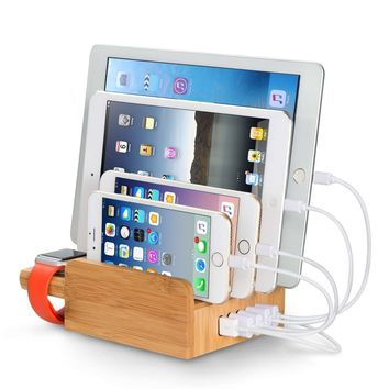 Upow 5-Port USB Charging Station Dock with Apple Watch Stand Bamboo Multi Device Organizer for Fast Charging Smart Phones, Tablets - iPhone, iPad, Samsung Galaxy and Others