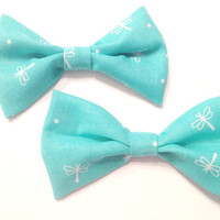 Light Blue Dragonfly Mini Bows (set of two)