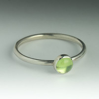 Peridot  Ring - Stackable Sterling Silver Peridot Ring