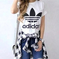"Women Fashion ""Adidas"" T-Shirt Top white Tee blouse"