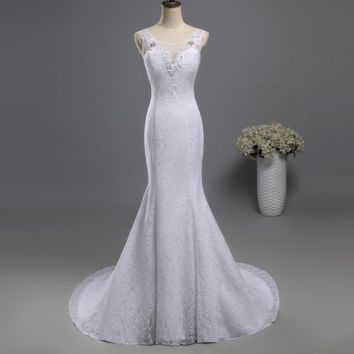 Lace formal Crystal Beads pearls Bridal Dress Dresses Wedding Fishtail Mermaid Prom Gown