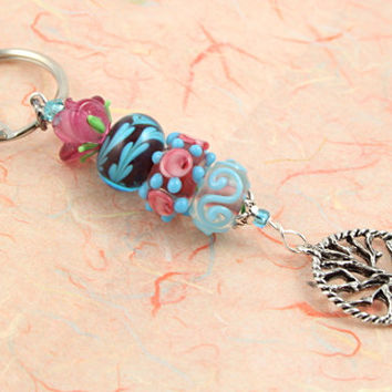 Keychain - Roses at the Forest Pond Tree of Life