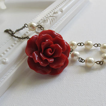 Large Red Rose Necklace. White Swarovski Pearls Necklace. Victorian Bridal Wedding Jewelry. Bridesmaid Gift Mother Best friendship Necklace