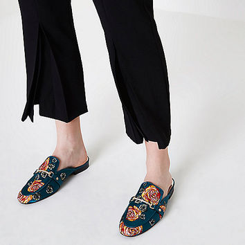 Dark green rose applique backless loafers - Shoes - Shoes & Boots - women