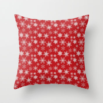 Snowflakes on Red Background Throw Pillow by TilenHrovatic