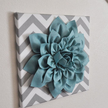 "MOTHERS DAY SALE Wall Flower -Dusty Blue Dahlia on Gray and White Chevron 12 x12"" Canvas Wall Art- Baby Nursery Wall Decor-"