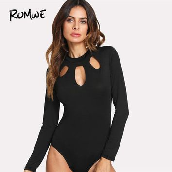 ROMWE Black Cut Out Bodysuit Women Deep V Neck Party Top Summer Skinny Women Long Sleeve Bodysuit