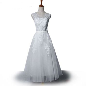 A Line White Wedding Dress Sheer Back Lace Appliques Beaded Belt Wedding Gowns China Wedding Dresses