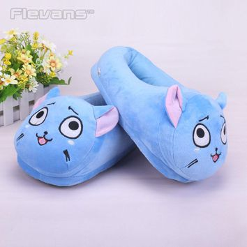 Anime Cartoon Fairy Tail Happy Plush Toys Dolls Women/ Men Plush Slippers Home Winter House Shoes One Pair