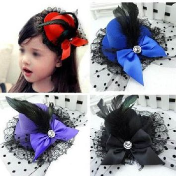 1 pcs Lady Mini Feather Rose Top Hats Cap Lace Fascinator Hair Clip Costume Hair Band Accessories