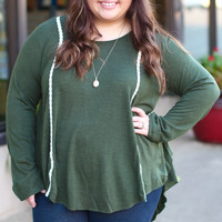 Olive Cabin Knit Sweater {Curvy}