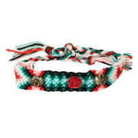 Skull Rose Red Friendship Bracelet