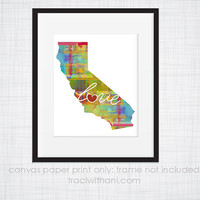 California Love - CA Canvas Paper Print:  Grunge, Watercolor, Rustic, Whimsical, Colorful, Digital, Silhouette, Heart, State, United States