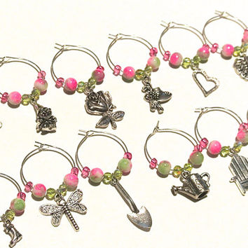 Garden Wine Charms- 12 Gardening Wine Glass Charms, Pink & Green Beads, Flower, Watering Can, Garden Gnome, Garden Party Wine Glass Tags
