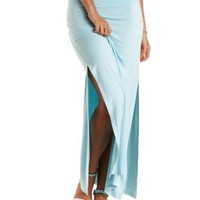Lt Blue Combo Double Side Slit Maxi Skirt by Charlotte Russe