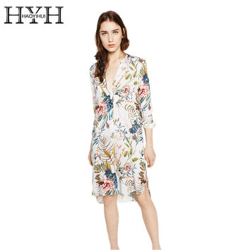 HYH HAOYIHUI Floral Print Women Basic Dress V-neck Side Split Long Sleeve Bodycon Midi Dress Ladies Casual Slim Vestido Female