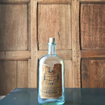 Antique Apothecary Bottle With Label, 1800s Blue Glass Pharmacy Bottle With Cork Stopper And Paper Label, Vintage Home Decor