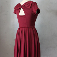 HOLLY GOLIGHTLY in PORT- Burgundy wine dress with pockets // pleated skirt // back cut out // bridesmaid dress // vintage inspired // party