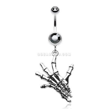 Hand of Death Skeleton Belly Button Ring (Hematite)