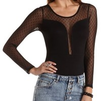 Dotted Swiss Yoke Plunging Bodysuit by Charlotte Russe