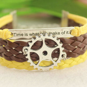 time is what you make of it charm bracelet-- chronoSgear bracelet,antique silver pendant,brown braid leather,yellow cord