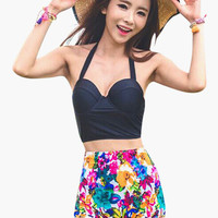 Halter Bustier Cropped Top and Floral High Waisted Bottom Swimsuit